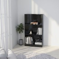 Zqyrlar - 3-Tier Book Cabinet High Gloss Black 60x24x108 cm Chipboard - Black
