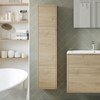 Perla 300mm 1 Door Wall Hung Tall Unit - Havana Oak