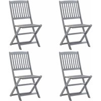 Folding Outdoor Chairs Solid Acacia Wood 4 pcs - Grey - Vidaxl