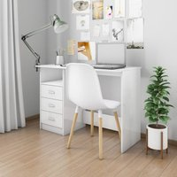 Desk with Drawers High Gloss White 100x50x76 cm Chipboard VD31598 - Hommoo